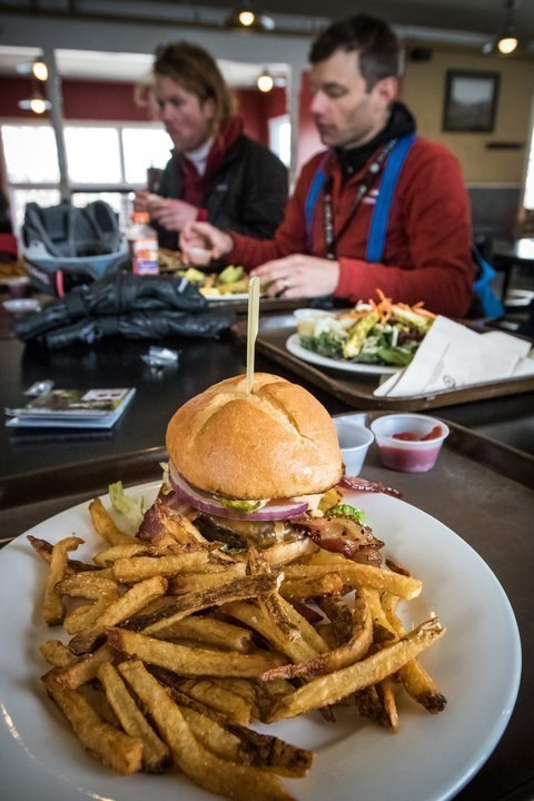 Stacked burger at Mid-Mountain Lodge Park City