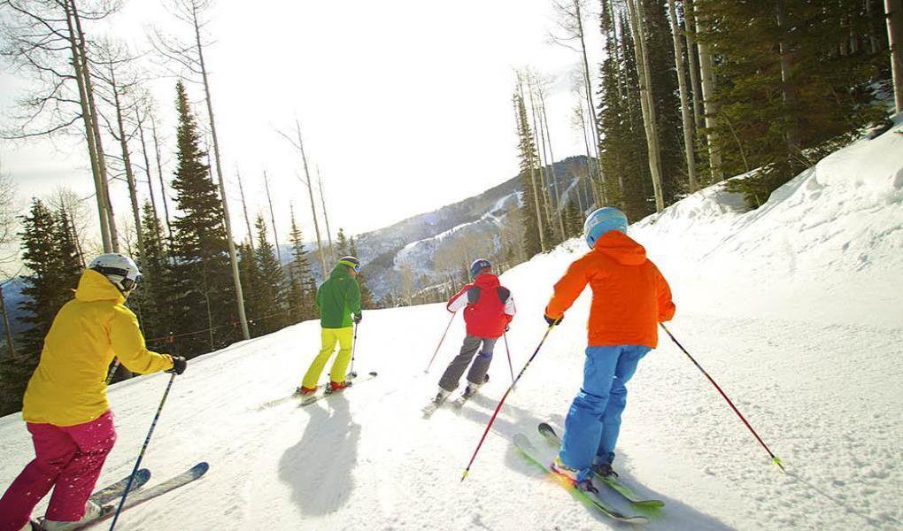 Family on the slopes at Canyons