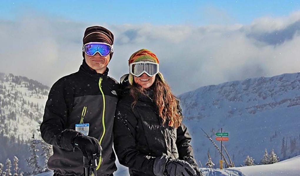 Couple Skiing at Snowbird