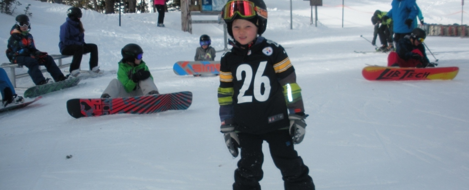 """It just takes practice."" Advice from a 7 year old snowboarder!"
