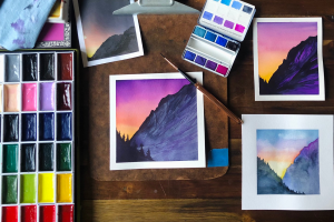 Watercolor 101: How to Paint a Simple Mountain Scene thumbnail