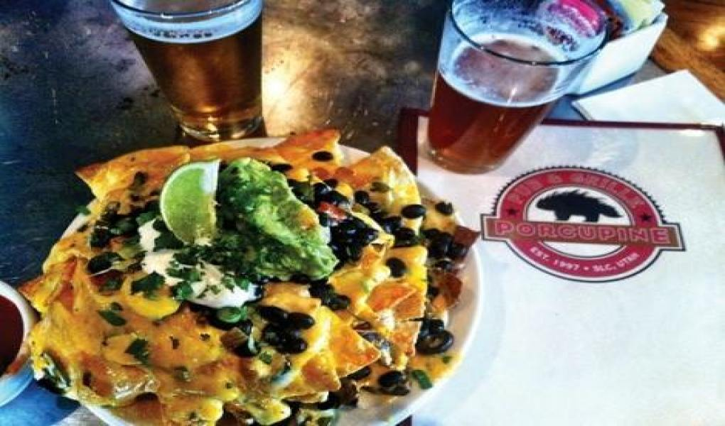 Dive into some famous nachos at Porcupine Pub.