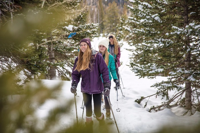Girls Snowshoeoing