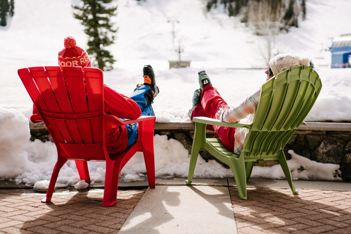 On the patio at Solitude Mountain Resort