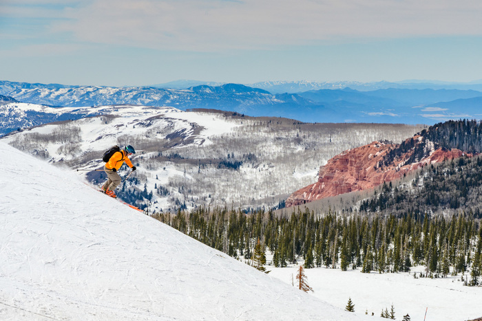 Skiing red rock