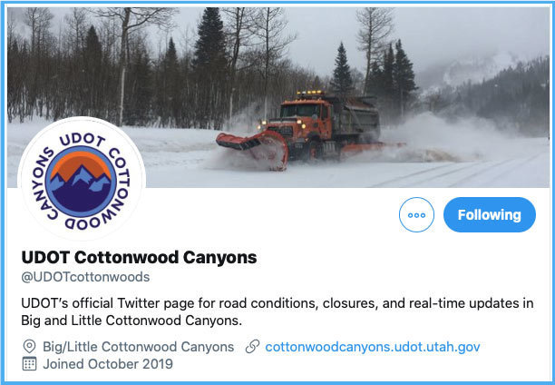UDOTCOttonwood Twitter Handle