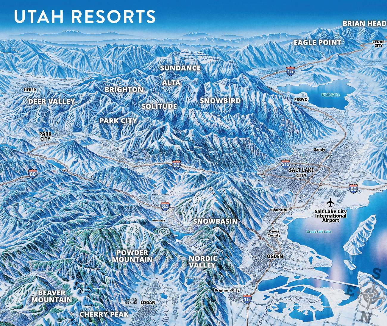 Ski Utah Map Getting Here: Flying to SLC International Airport   Ski Utah