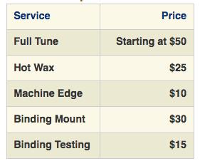 Powder Mountain Tune Cost Sheet
