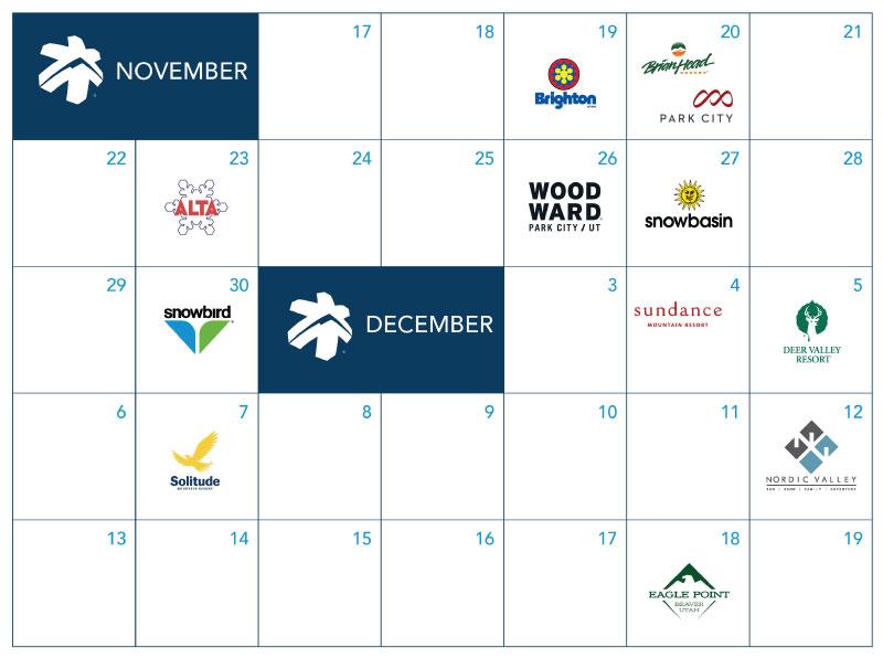 2020-21 Utah Ski Resort Opening Dates - Calendar