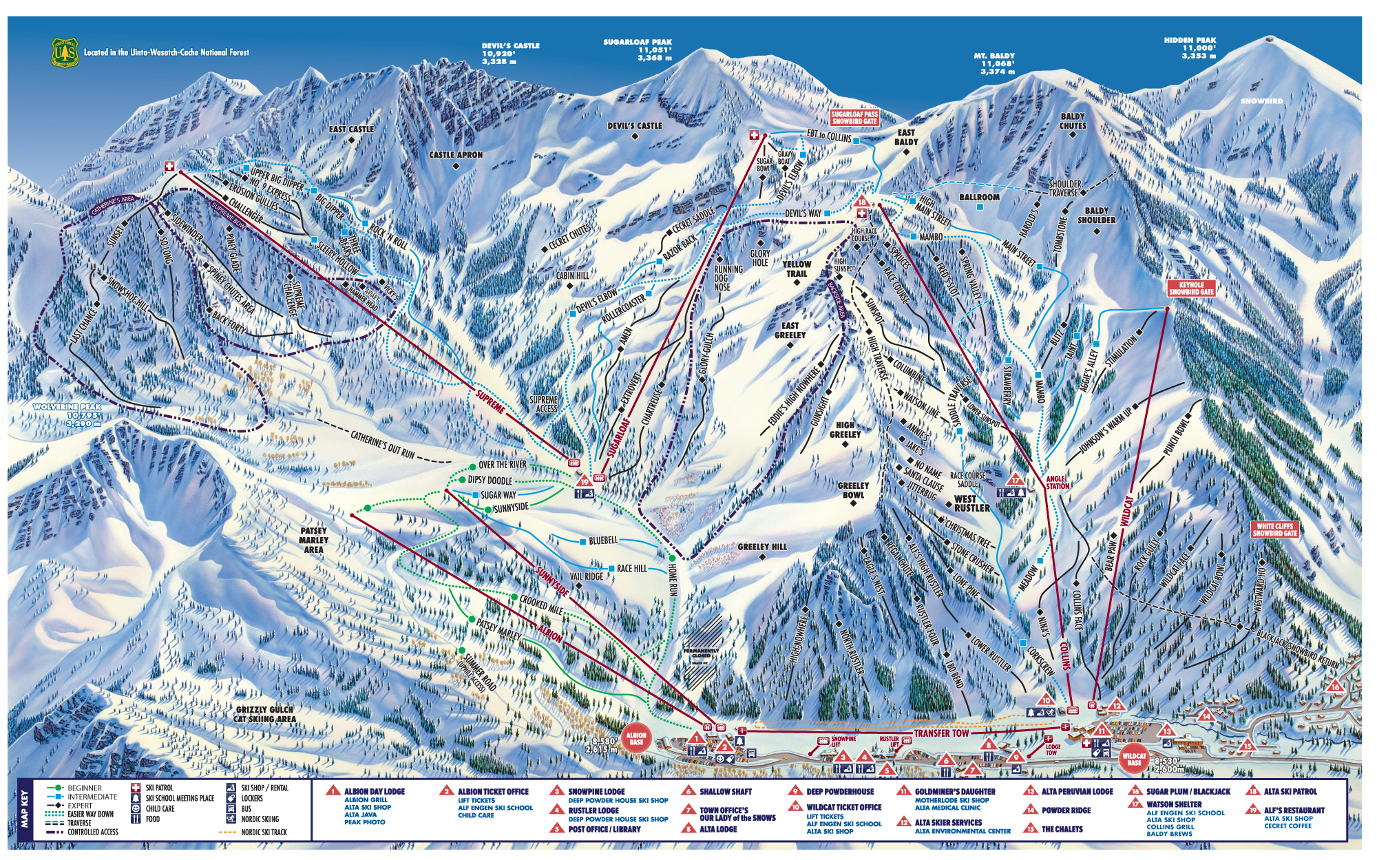 Alta Ski Resort Map Weather Information Ski Utah - Us ski resorts map