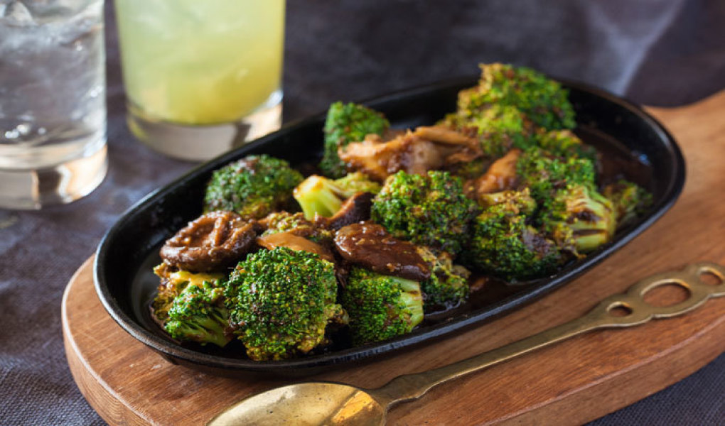 Sweet Soy Roasted Broccoli, Shiitake Mushrooms